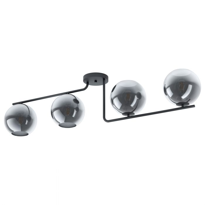 Marojales 4 Light Black and Smoke Glass Ceiling Light