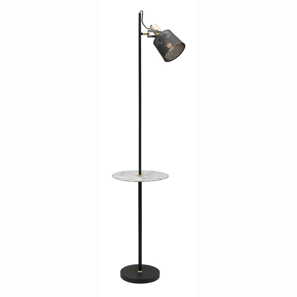 Arizona 1 Light Cylinder Mesh Metal Shade with Marble Look Table Floor Lamp