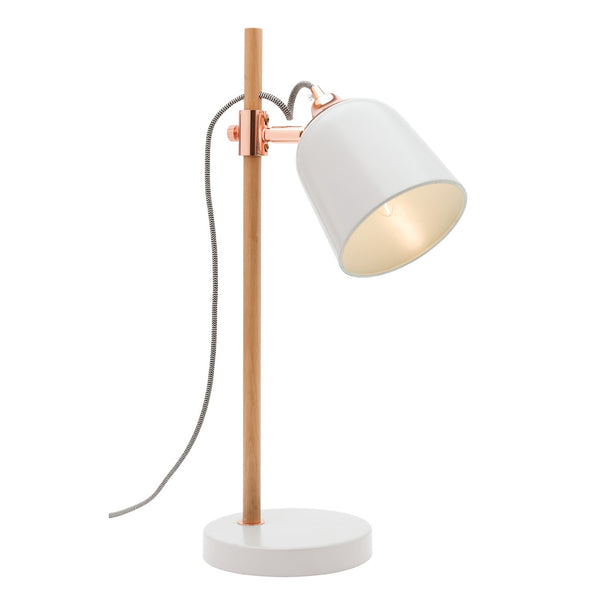 Cuba White and Timber Stemmed Adjustable Table Lamp