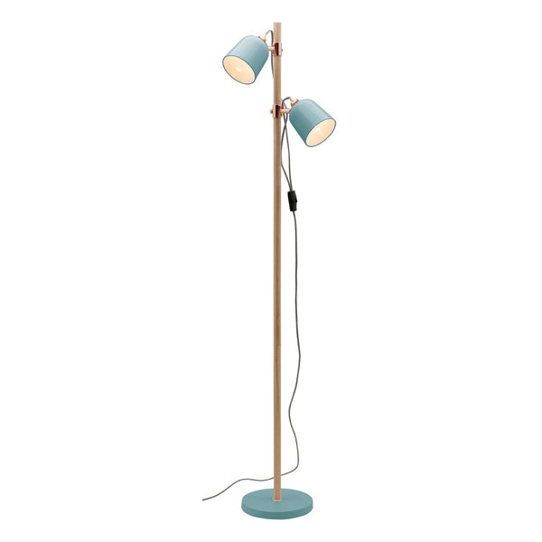 Cuba Duck Egg and Timber Stemmed Double Adjustable Floor Lamp