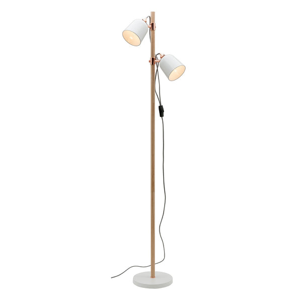 Cuba White and Timber Stemmed Double Adjustable Floor Lamp
