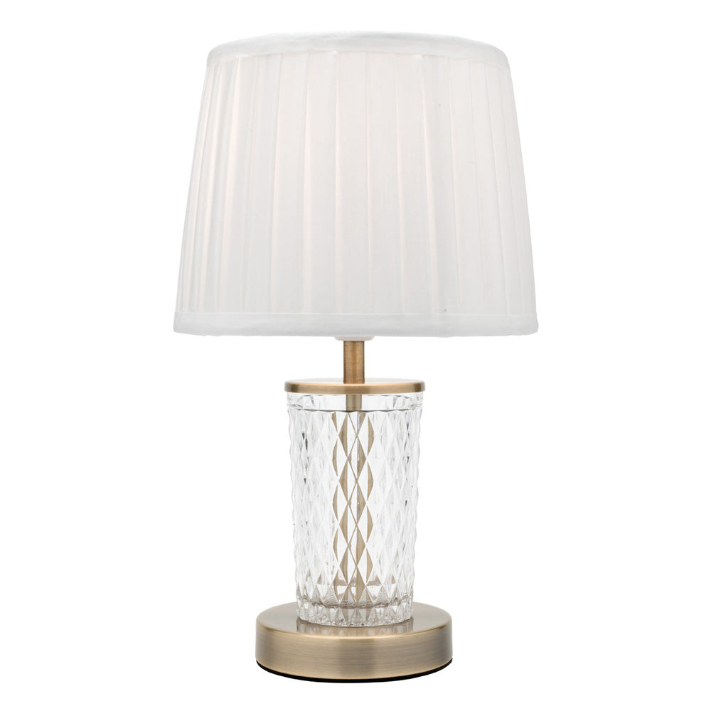Taryn Antique Brass and Clear Cut Glass Table Lamp