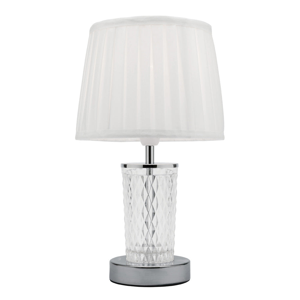 Taryn Brushed Chrome and Clear Cut Glass Table Lamp