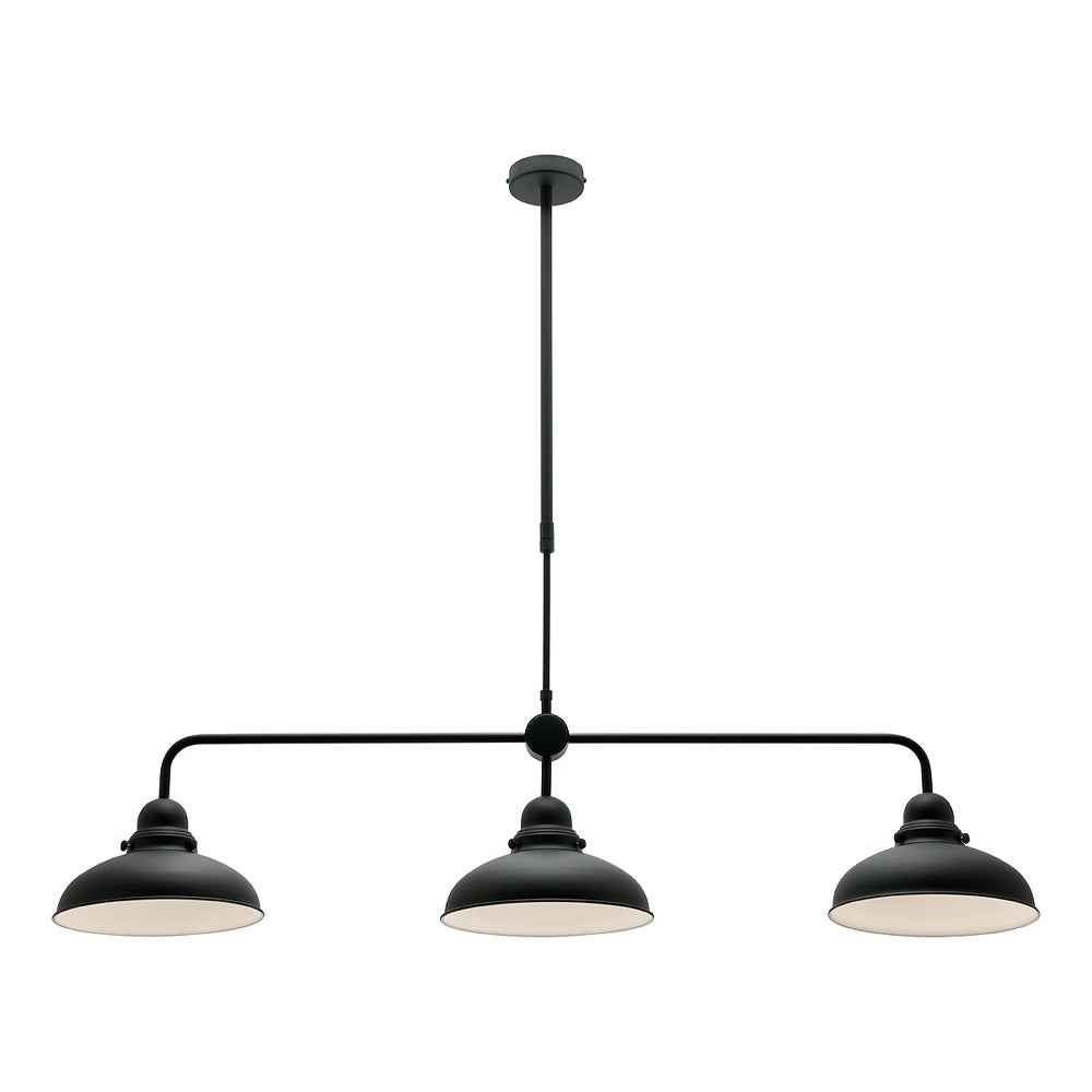 Verona Matt Black Industrial 3 Light Pendant