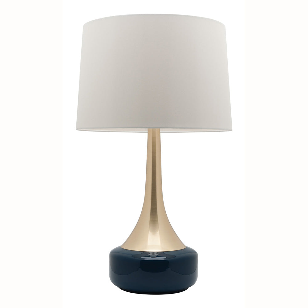 Galleria Brass and Navy Goose Neck Table Lamp