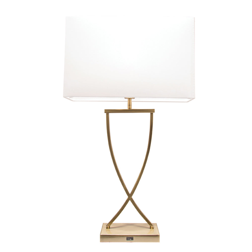 Aristo Bronze and White Table Lamp with USB Charging Port