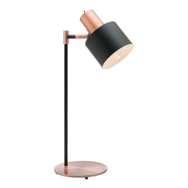 Benjamin Matt Black and Antique Copper Modern Industrial Table Lamp