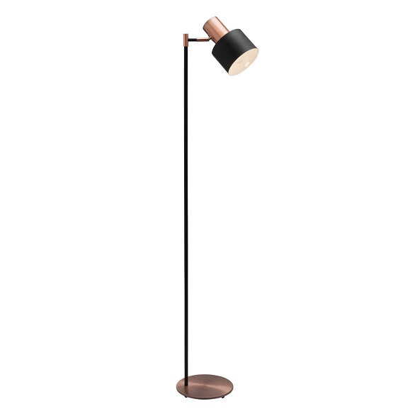 Benjamin Matt Black and Antique Copper Modern Industrial Floor Lamp