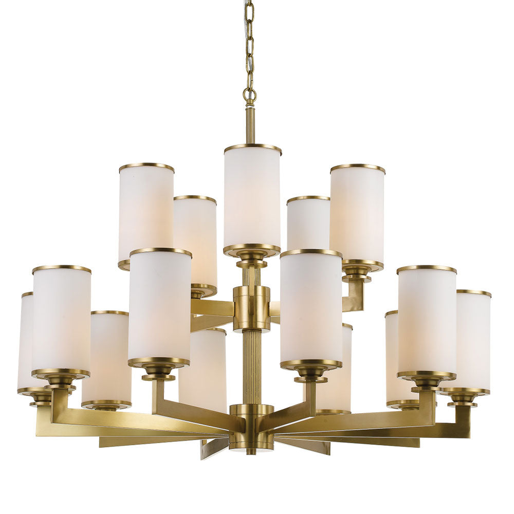 Ahern 15 Light Brass and Opal Glass Pendant