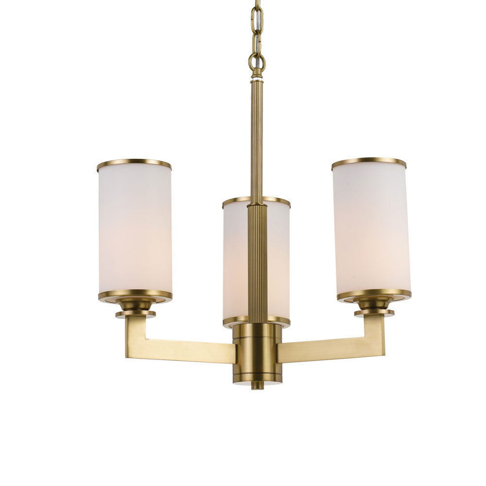 Ahern 3 Light Brass and Opal Glass Pendant