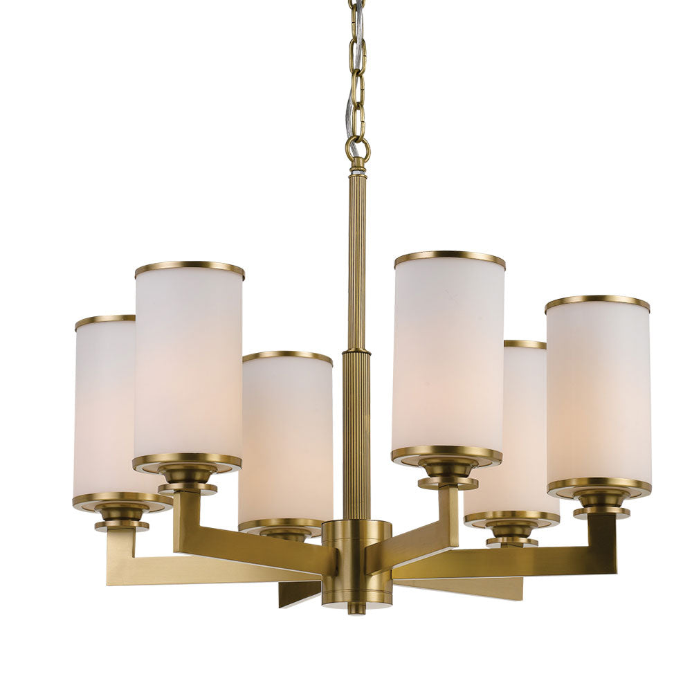 Ahern 6 Light Brass and Opal Glass Pendant