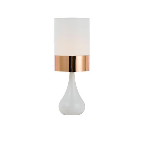 Akira White with Copper Table Lamp