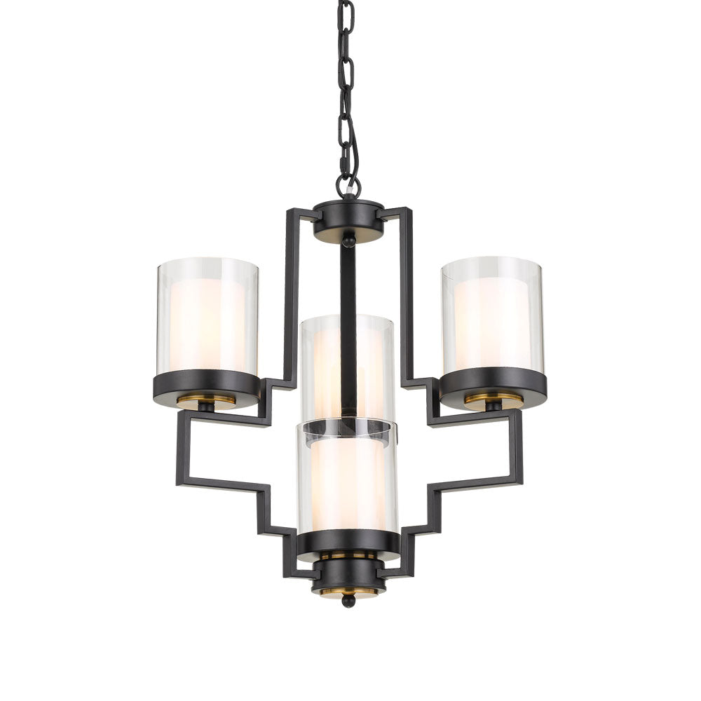 Alvarez 4 Light Black with Clear/Frost Glass Pendant
