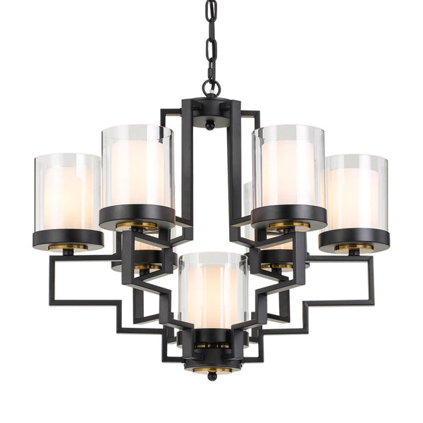 Alvarez 7 Light Black with Clear/Frost Glass Pendant