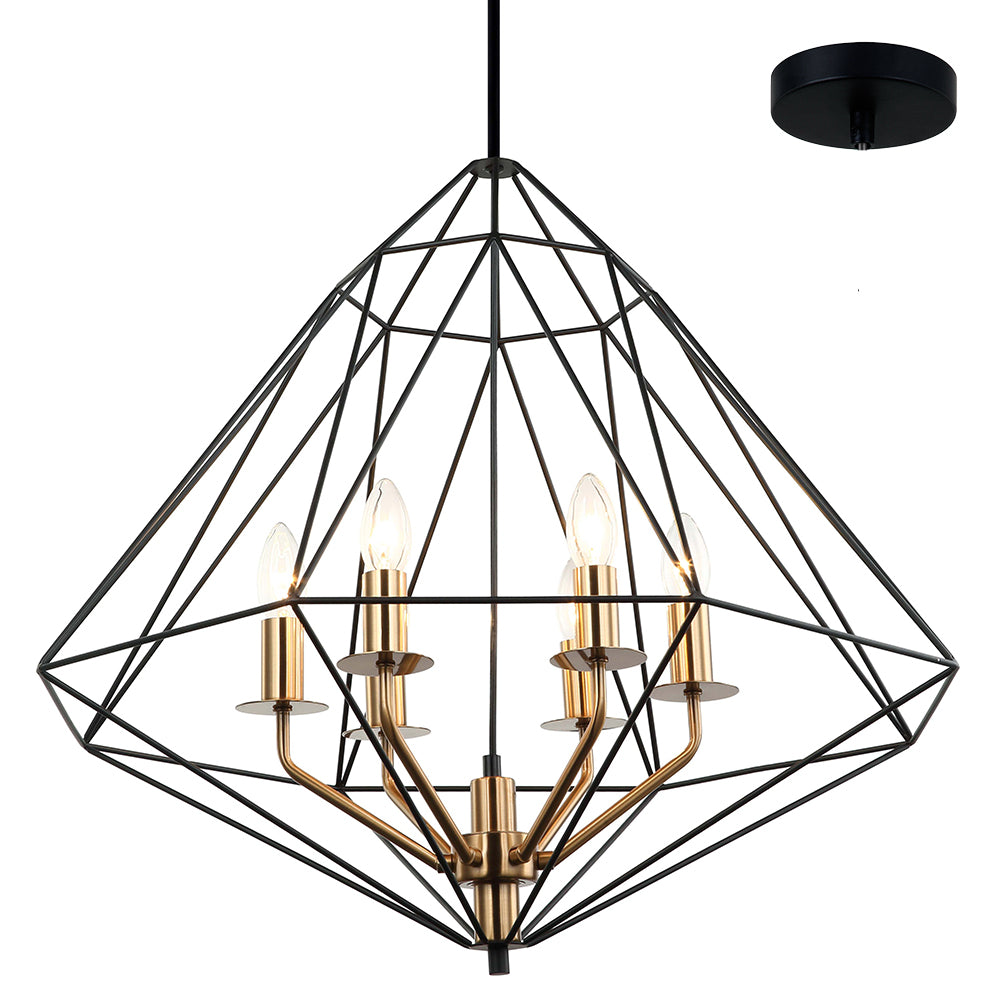 Kerman 6 Light Modern Industrial Black and Bronze Pendant