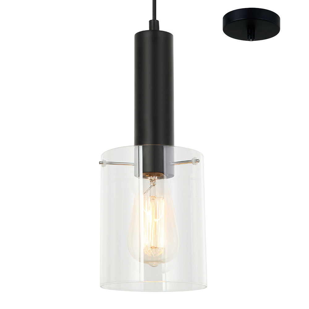 Rory Clear Glass Cylinder and Black Pendant by Amond