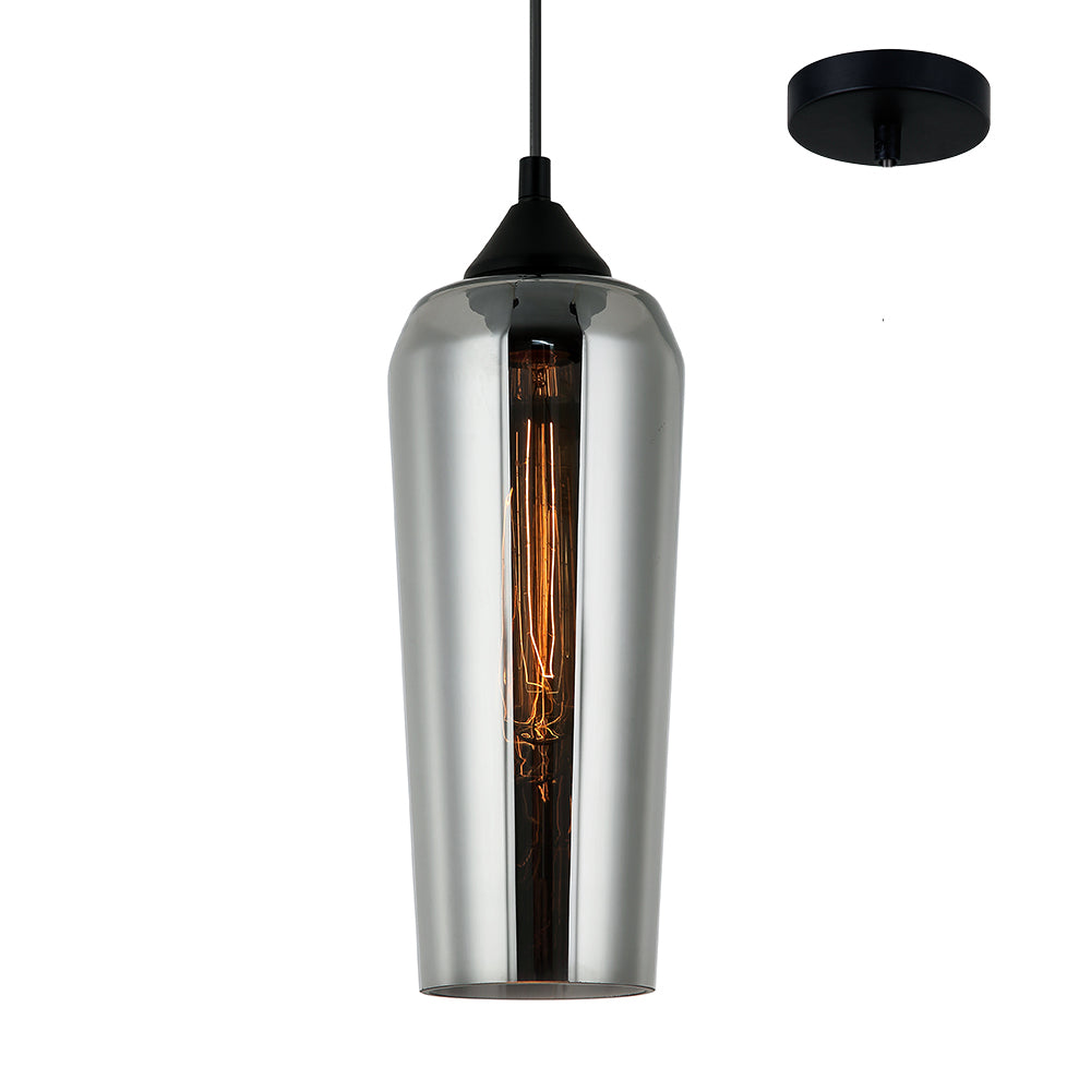 Sia Modern Smoke Glass with Black Pendant