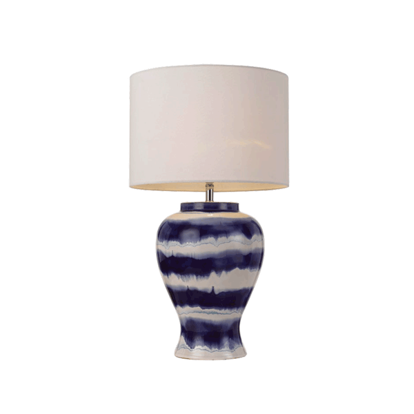 Asta Blue and White Striped Vase Table Lamp