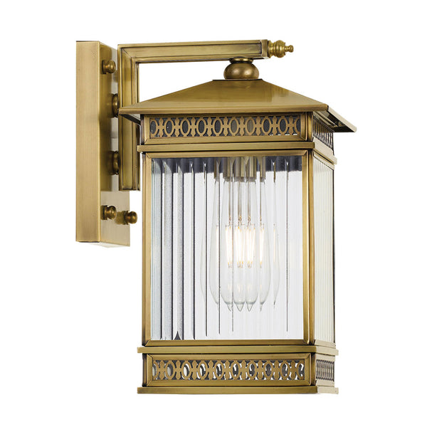 Avera 17.5cm Antique Brass and Reeded Glass Coach Exterior