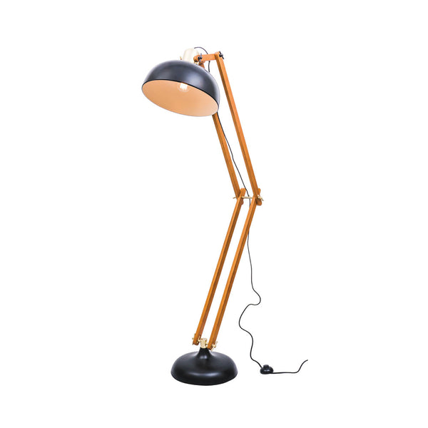 Alfred Matt Black and Walnut Modern Floor Lamp with Brushed Brass