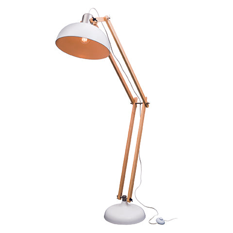 Alfred Matt White and Natural Modern Floor Lamp with Brushed Chrome