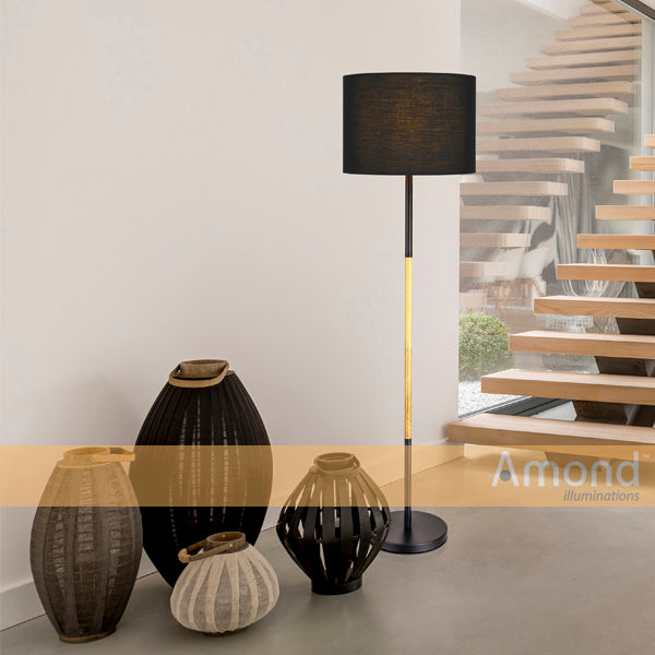 Amara Black and Timber Floor Lamp by Amond