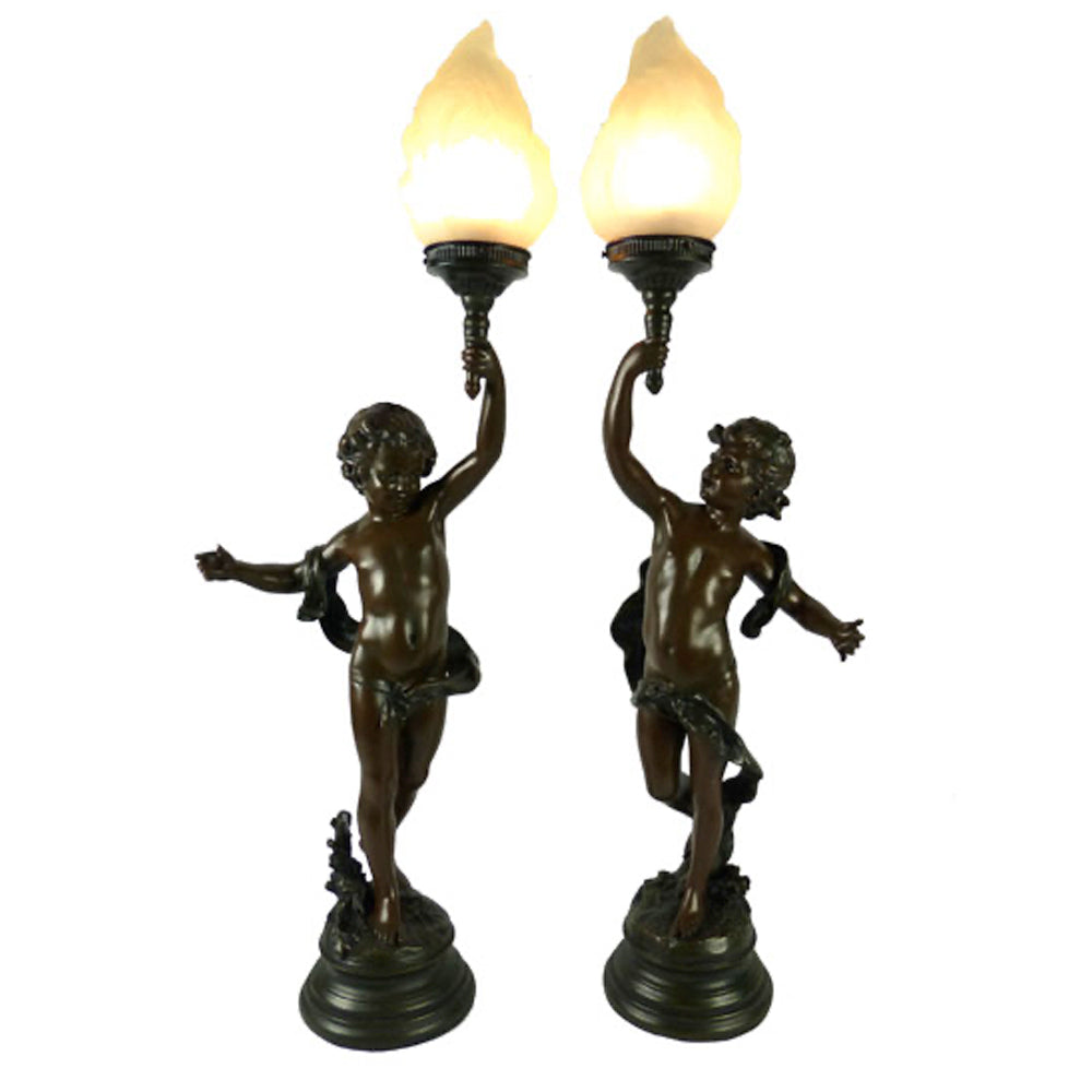 Pair of Tall Cherubs 2 Tone Brown