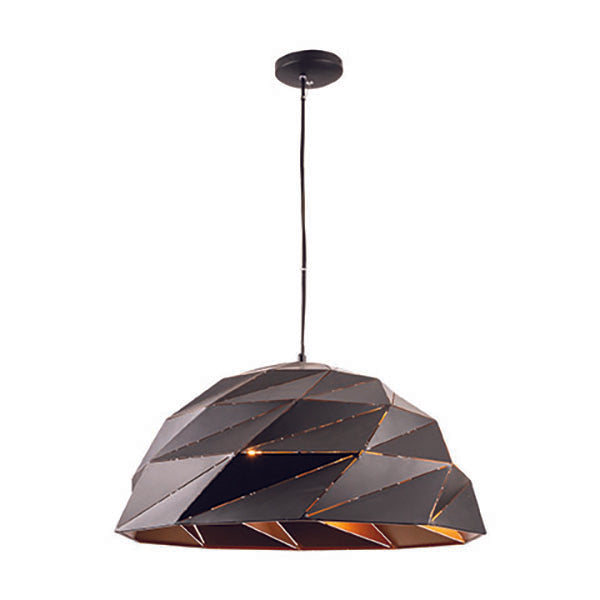 Astra Geometric Lazercut Large Matt Black with Gold Pendant