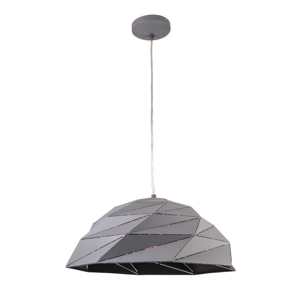 Astra Geometric Lazercut Large Matt Grey Pendant