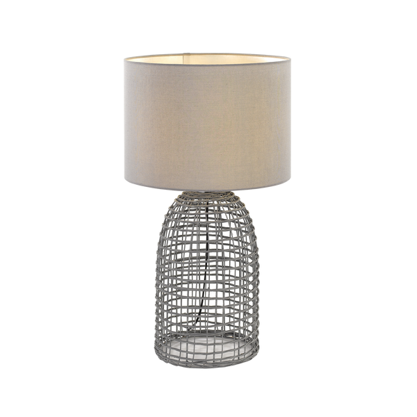 Bayz Small Grey Rattan Bottle Cage Table Lamp