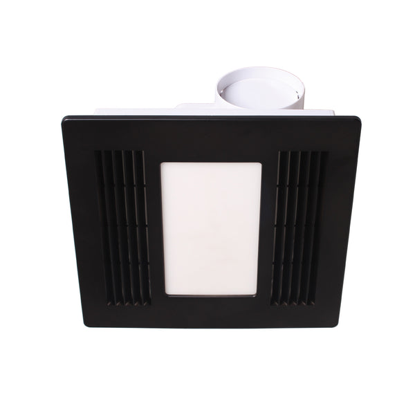 Aceline Black Bathroom Exhaust Fan with Tri-Colour Light