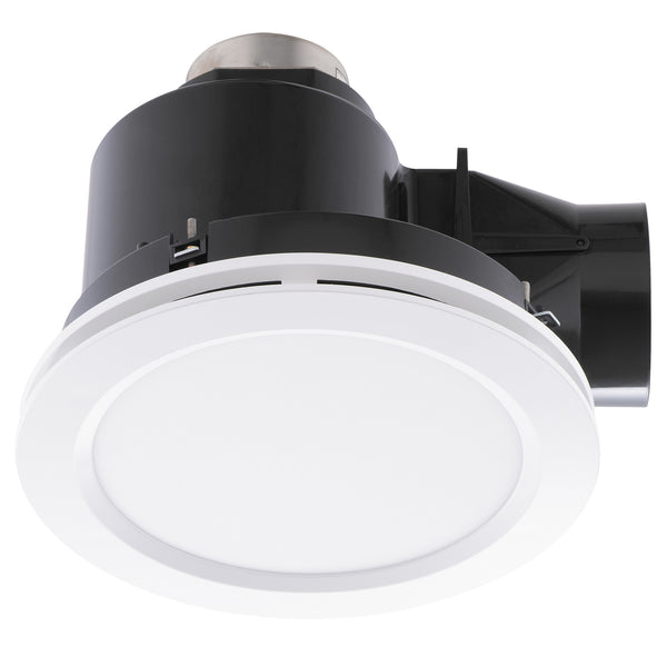 Revoline White Small Bathroom Exhaust Fan with Tri-Colour Light