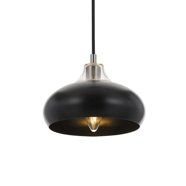 Beck 20cm Black and Chrome Wide Teardrop Pendant