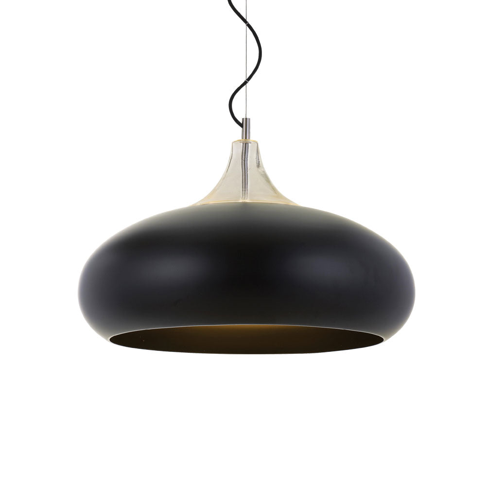 Beck 40cm Black and Chrome Wide Teardrop Pendant