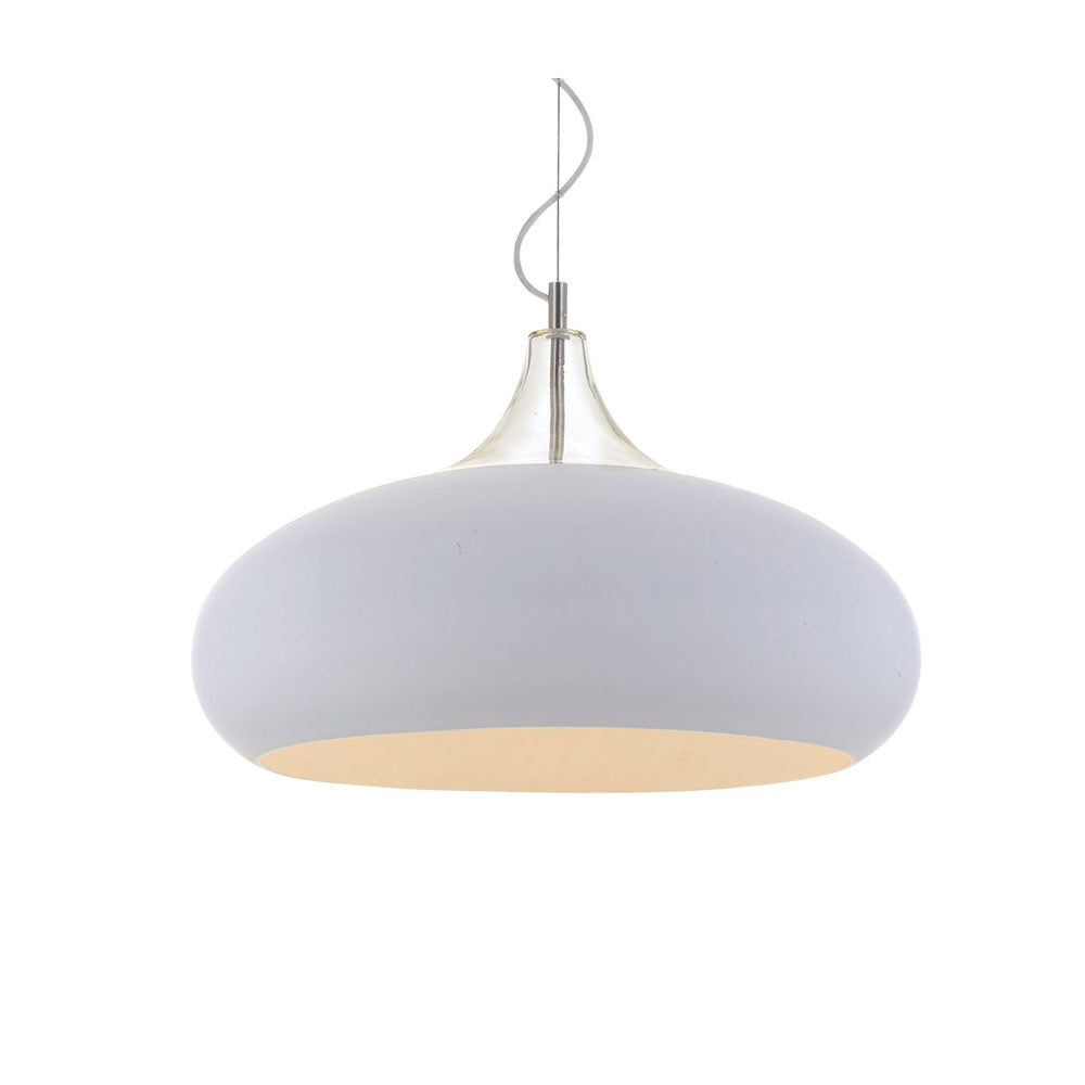 Beck 40cm White and Chrome Wide Teardrop Pendant