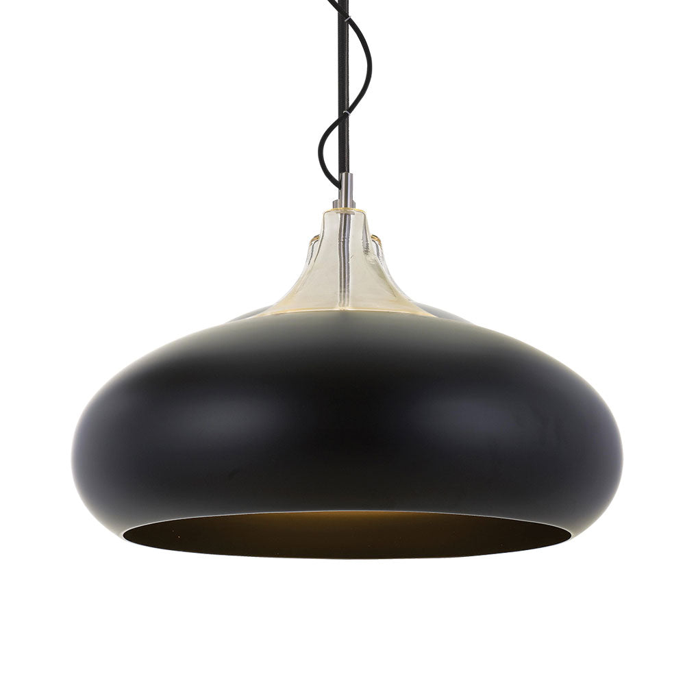 Beck 60cm Black and Chrome Wide Teardrop Pendant