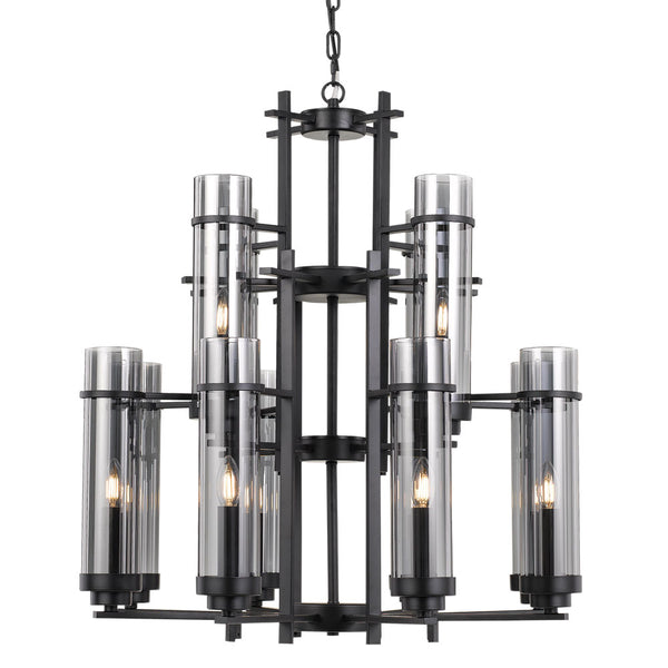 Burgess 12 Light Tall Cylinder Candle Tree Archaic Pendant