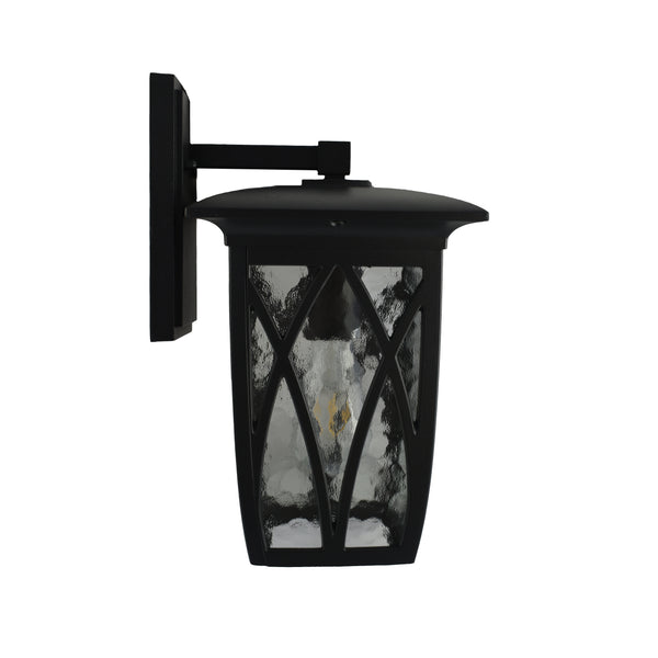 Ballan Black Traditional Coach Light With Mottled Clear Glass