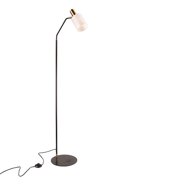 Balmoral Matt Black with Aged Brass Modern Floor Lamp