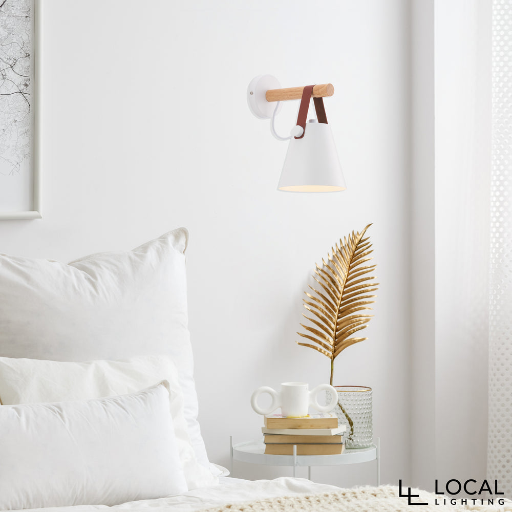 Beckett White and Faux Leather Modern Wall Light