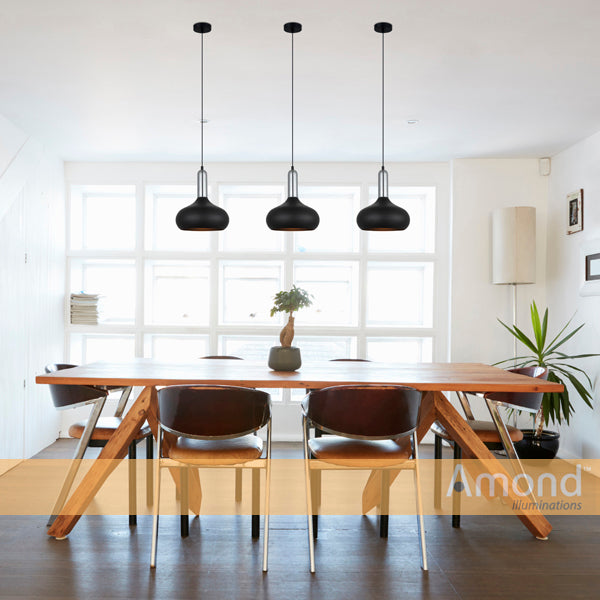 Bowen Black and Chrome Hybrid Industrial Pendant by Amond