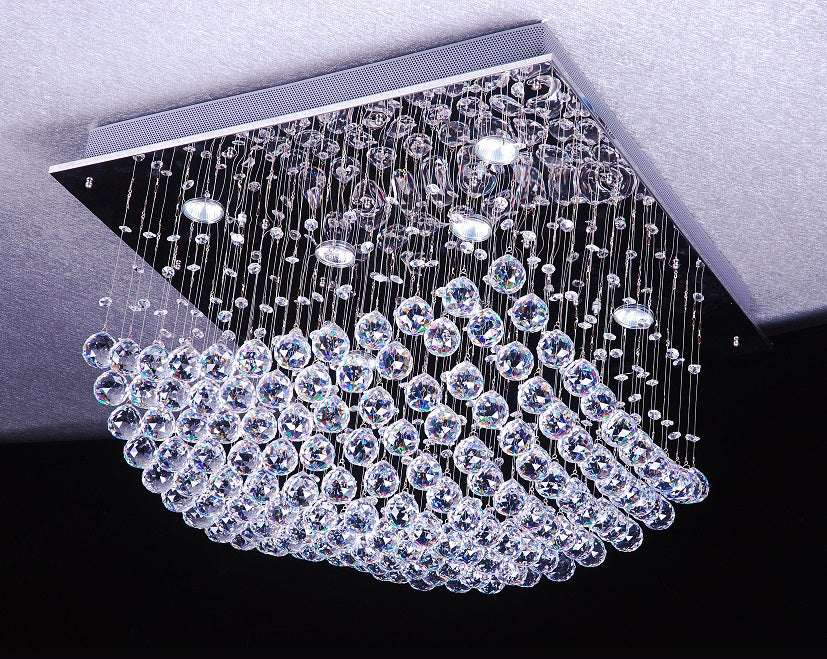 Bryn Square Curveform Crystal Ceiling Fixture by Amond