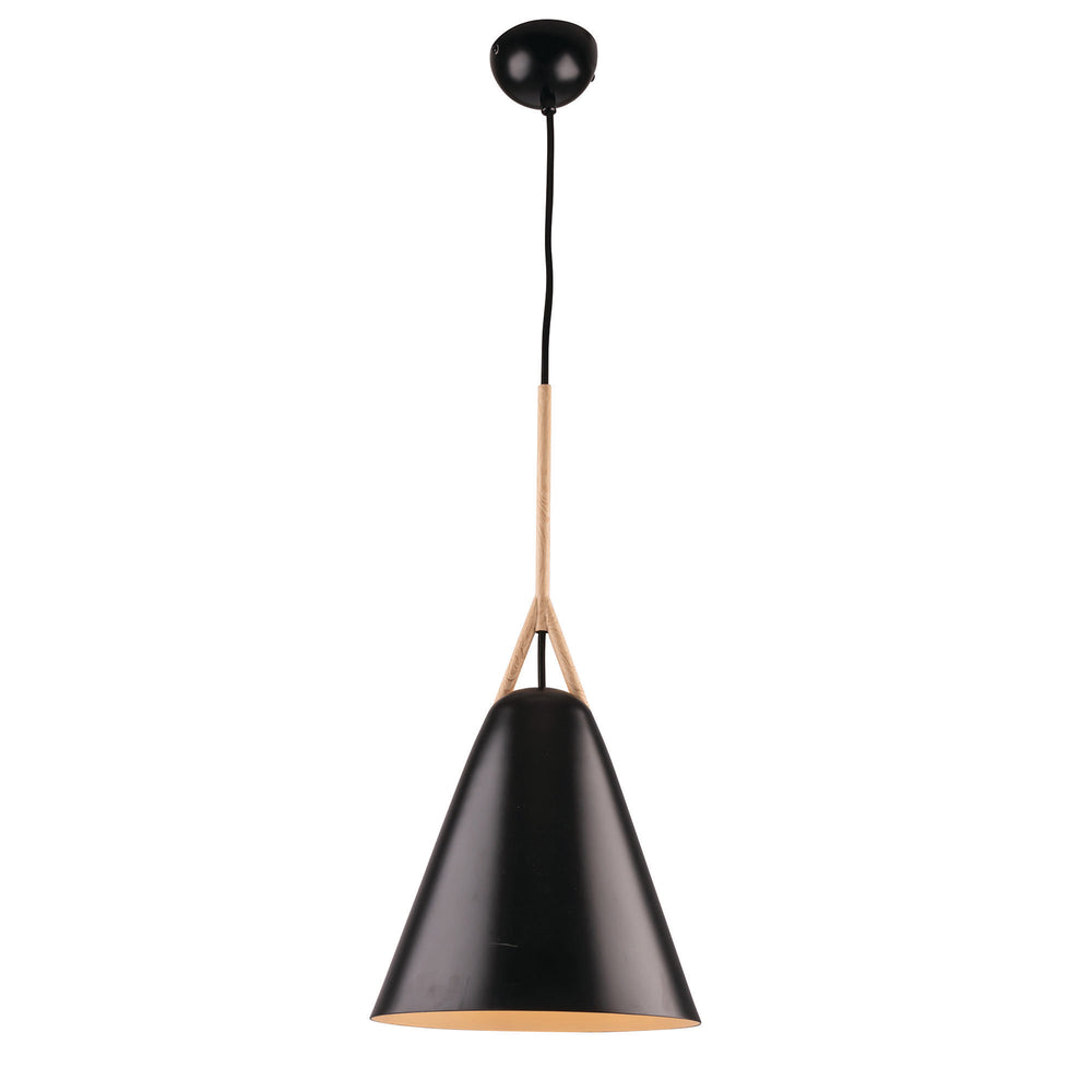 Byron Matt Black with Timber Look Top Large Pendant