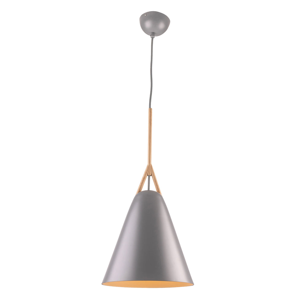 Byron Matt Grey with Timber Look Top Small Pendant