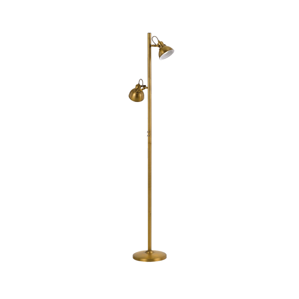 Carson Antique Brass Dual Adjustable Head Task Floor Lamp