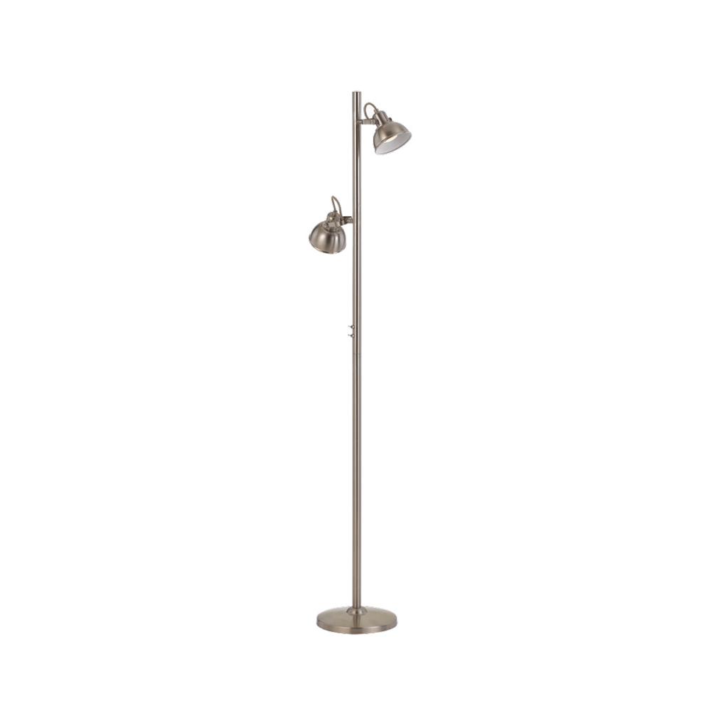 Carson Nickel Dual Adjustable Head Task Floor Lamp
