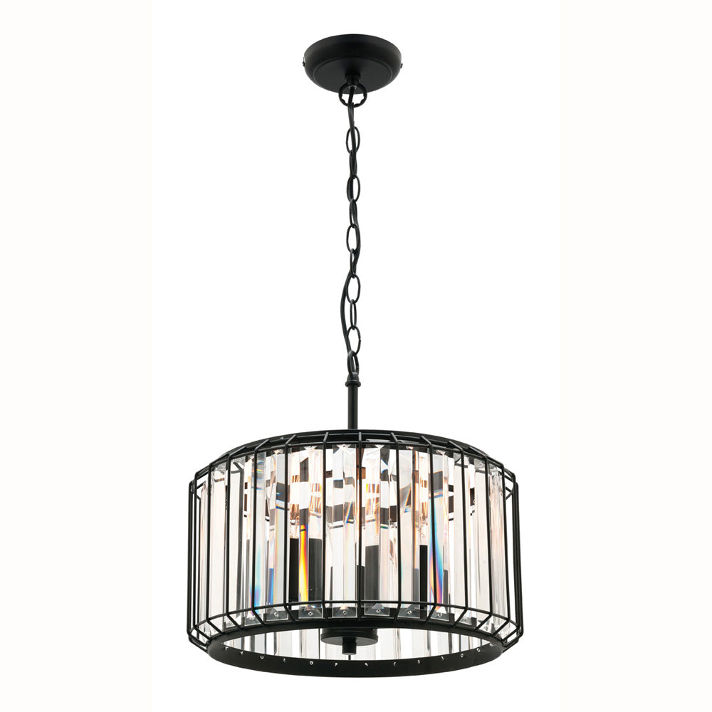 Olympia 3 light pendant crystal with matt black frame -CE4123