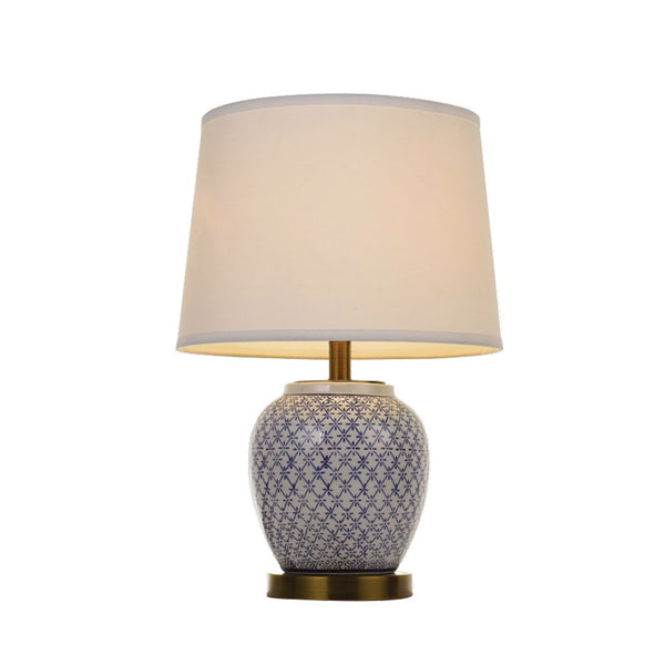 Chong Blue Patterned on White Table Lamp