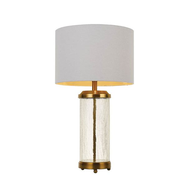 Chris Antique Brass and Clear Water Glass Table Lamp