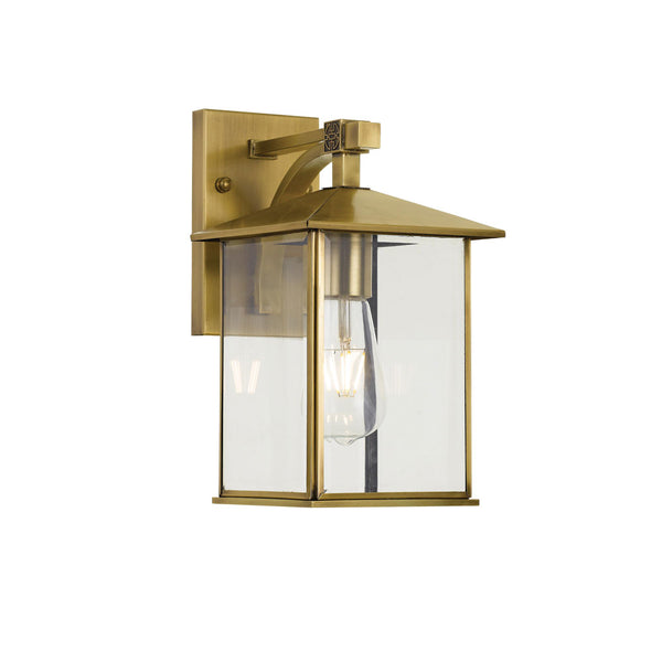 Coby 15cm Solid Brass Open Glass Box Lantern Coach Light